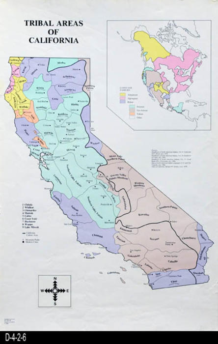 "This is a color map showing the Tribal Areas of California.  The map sources are quoted on the map.  This map is very similar to the 1996 copyright.  Some of the tribal boundries have changed on the 1996. - MEASUREMENTS:  34"" X 22 3/4"" - CONDITION:  Excellent - COPIES:  1 - MAP ORIENTATION:  Top is NORTH."