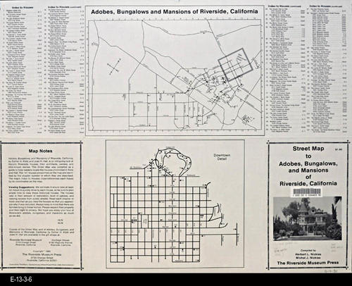 "This map shows the adobes, bungalows, and mansions of Riverside, California.  This street map shows the 141 dwellings chronicled by Klotz and Hall in the book having the same title as this map.  - MEASUREMENTS:  17"" x 22""  (Unfolded) - CONDITION:  Very Good - COPIES: 1 - MAP ORIENTATION:  Top is NORTH."