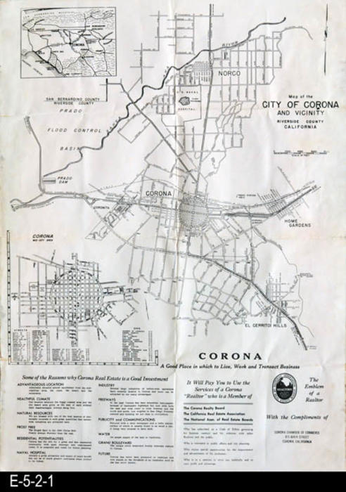 "This is a street map for the City of Corona.  Also shown is Norco, Home Gardens, and El Cerrito Hills. At the bottom of the map is information about the area.  There is a small street index on the left side of the map for the City of Corona only.  MEASUREMENTS:  22 1/4"" X 16 1/2"", CONDITION: A little paper discoloration about 1/16"" wide on some of the edges.  Slight tearing on the right middle fold line.  COPIES:  1"