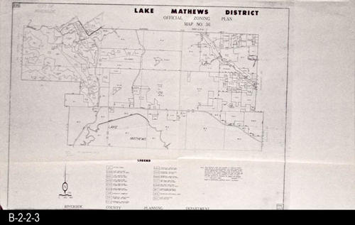 This is the Official Zoning Plan, Map No. 36. This map covers the Lake Mathews region. The map was adopted by Ordinance No. 348.173 on 02/18/1963. CONDITION:  Excellent. - COPIES: 1 - MAP ORIENTATION:  Top is NORTH.