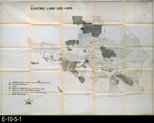 "This map is from SCAG (Southern California Association of Government).  It shows the existing land use in 1976 of an unspecified Southern California area.  This map has a legend showing the specific uses of land area on the map.  MEASUREMENTS:  41 1/2"" X 54 1/4"", CONDITION:  Good.  There is a little yellowing and paper fatigue on the fold lines.  COPIES:  1"