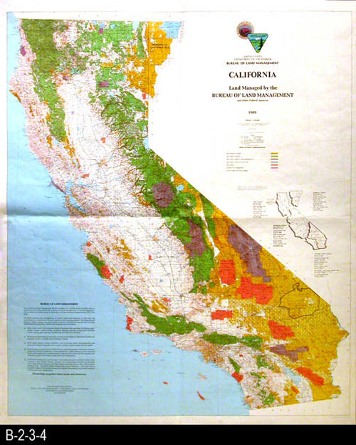 "This map shows the regions in the State of California managed the the U. S. Department of the Interior, Bureau of Land Management and other Federal Agencies.  - MEASUREMENTS:  60"" x 50"" CONDITION: Excellent - COPIES: 1 - MAP ORIENTATION:  Top is NORTH."