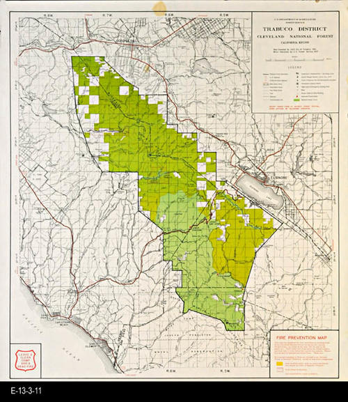 National Forests In California Map.Map 1957 Fire Prevention Map Trabuco District Cleveland