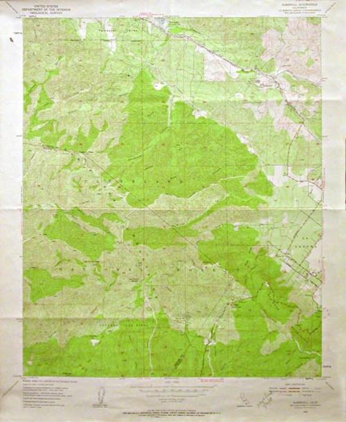 "This map of Palen Mountains, CA is published by the U. S. Geographical Survey.  MEASUREMENTS:  22"" X 18"" - CONDITION:  Very good.  - COPIES:  1 - MAP ORIENTATION: Top is North."