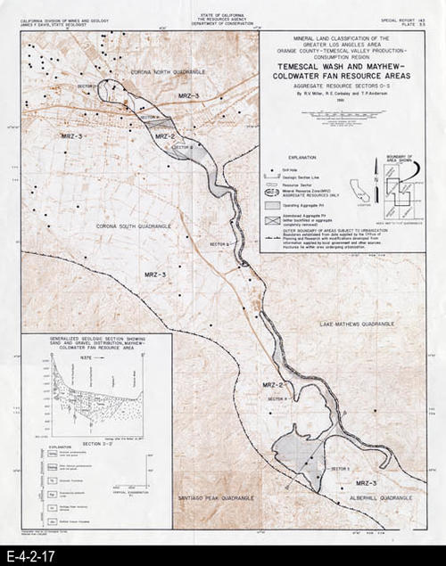 "This map is of Temescal Wash and Mayhew-Coldwater Fan Resource Areas - Sectors O-S, and was published by the State of California - Division of Mines and Geology. This map covers the mineral land classification of the greater Los Angeles area, Orangae County, and the Temescal Valley production consumption region. MEASUREMENTS: 18"" X 15"", CONDITION: Good, COPIES:  1."