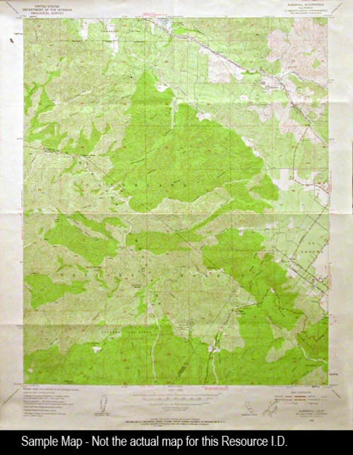 "This map is of On Bachelor Mtn., CA and was published by the U. S. Department of the Interior, Geological Survey. MEASUREMENTS: 27"" X 22"", CONDITION: Very Good, COPIES:  1."