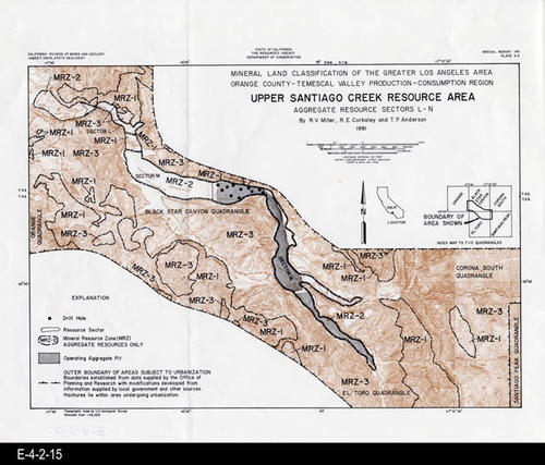 "This map is of the Upper Santiago Creek Resource Area - Sectors L-N, and was published by the State of California - Division of Mines and Geology. This map covers the mineral land classification of the greater Los Angeles area, Orangae County, and the Temescal Valley production consumption region. MEASUREMENTS: 18"" X 15"", CONDITION: Good, COPIES:  1."
