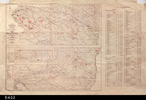 "This map covers Western and Eastern Riverside County and shows mines, gems, and mineral deposits.  This map also has an index list of Mines and Prospect Metals. MEASUREMENTS:  22"" X 34"", CONDITION:  The legibility of the map is excellent; however both the upper left and right hand corners in the white margin area have been cut off.  There are also 1 ince tears in the margin area on both the right and left hand side the correspond to the bottom fold line of the map.  COPIES:  1"
