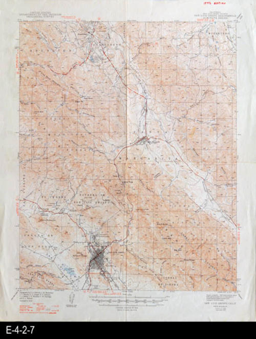 "This map is of San Luis Obispo, CA and was published by the U. S. Department of the Interior, Geological Survey. MEASUREMENTS: 21"" X 17"", CONDITION: Very Good, COPIES:  1."