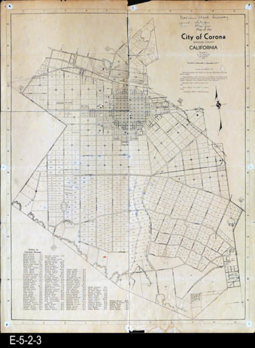 "This is a street and plot map for the City of Corona. In the lower left hand corner is an Index of Streets.  The number for each land plot is shown. This map was distributed by the City of Corona and the Corona Chamber of Commerce. MEASUREMENTS:  23 1/4"" X 18"", CONDITION:  The paper is becomming brittle.  The upper left hand corner has separated from the map on the fold lines.  Slight water staining in the margin area at the bottom of the map.  Due to the separation of map parts, it is kept in a sleeve. COPIES:  1"