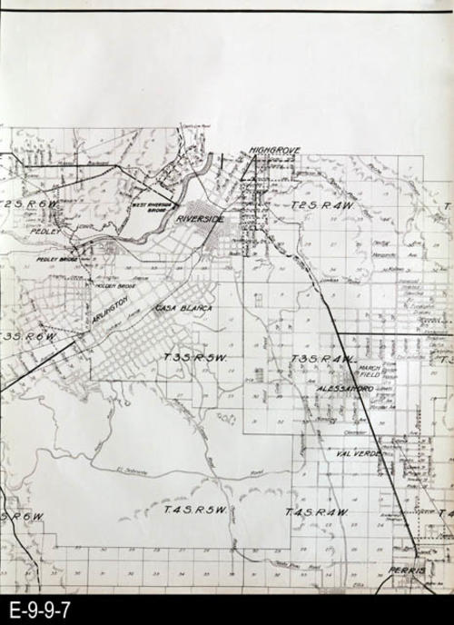 "This is a plat map of Riverside County on white glossy paper.  It shows sections, townshps, ranch lines and topography. This map is in 5 parts. There is a negative copy (black) of this section of the map with the Resource  ID of E-9-9-14. MEASUREMENTS:  17 3/4"" X 23 1/2"", CONDTION:  Good, COPIES:  1."