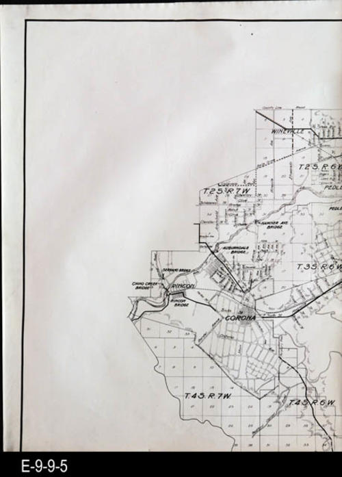 "This section of the map shows Rincon, Corona, Wineville (in 1928 Wineville became Mira Loma, CA due to the Chicken Coop Murders) and part of Pedley.  There is a black copy of this map with the Resource ID: E-9-9-13.  MEASUREMENTS:  23 1/2"" X 17 3/4"", CONDITION:  Good, COPIES:  1"