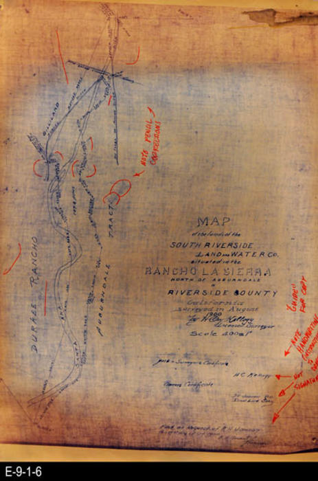 "This photocopy of the site map shows the Santa Ana River. One side is the Durkee Rancho and on the other the Auburndale Tract.  MEASUREMENTS: 26"" X 18"", CONDITION:  The map is legible,  There is discoloration of the paper. Numerous notations have been written on the photocopy in Red.  COPIES:  1."