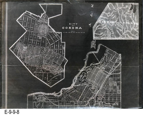 "This is a plat map of The City of Corona and the City of Riverside on black glossy paper.  It shows sections, townshps, ranch lines and topography. This is the top part of a 2 part map.  There is a white copy of this map with the Resource ID: E-9-9-18. The bottom section of this map has the Resource ID: E-9-9-9. MEASUREMENTS:  17 5/8"" X 23 1/4"", CONDTION:  Good, COPIES:  1."