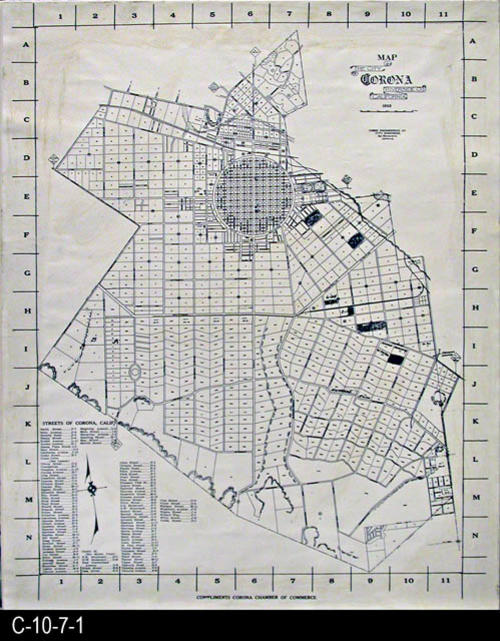 "This is a 1928 map (photocopy)  of the City of Corona.  There is a  street index with letters on each side of the map and numerals at the top and bottom to help locate streets named in the index.  Reference D-2-14-1 is an original map without the streets index.  MEASUREMENTS:  24"" X 19.5"" - CONDITION:  Very good.  There appears to be a slight yellowing where an adhesive may have been applied to adhere this photocopy to a foamcore backing. - COPIES:  1 - MAP ORIENTATION:  Top is NORTH."