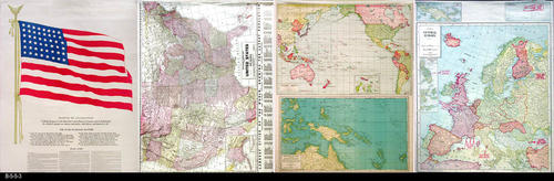 "This poster-map combination is identical to B-5-5-2, but with a third page.  Side 1: Has five small maps showing:  U. S. Army and Navy Camps and Stations, Burma-Indian Front, Aleution Islands, China and Japan.  Side 2:  Victory War Map. - MEASUREMENTS:  35 3/4"" X 27 3/4"" - CONDITION: Very poor condition.  Extensive tears and taping - Very Fragile. - COPIES:  1"