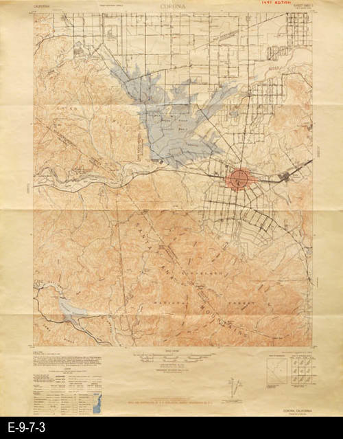 "This topographical map shows landmarks, historical locations, and geological features of Corona, California and the surrounding area. The road data for this map is dated 1942.  In the lower right hand corner of this map is a small index showing map name and number for adjoining areas.  MEASUREMENTS: 22"" X 18"", CONDITION:  Good, COPIES:  1."
