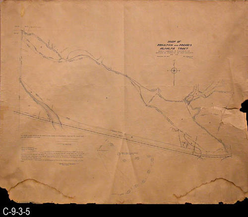 "This map shows the Moulton and Praed's Alfalfa Tract - Subdivision of the Rancho El Sobrante de San Jacinto.  MEASUREMENTS:  31"" X 41"" - CONDITION:  Copy 1 is on tan paper with blue printing .  Extensive water staining a the bottom of the map.  A 7"" tear extends in from the right edge.  Legibility is excellent.  Copy 2  is dark blue paper with white printing.  Some water staining at the bottom.  A 15"" tear extends in from the right edge and a 9"" tear from the left edge.  Top edge is irregular.  The legibility of this map is very good.  (Only the tan map is available for viewing online).  - COPIES:  2 - MAP ORIENTATION:  Top is NORTH."