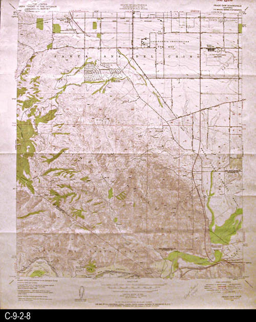 "This map is published by the U. S. Geographical Survey.  This map was used by the Director of Public Works, State of California.   MEASUREMENTS:  22"" X 26 1/2"" - CONDITION:  Very good.  This map is contained in a Mylar sleeve.   - COPIES:  1 - MAP ORIENTATION: Top is North."