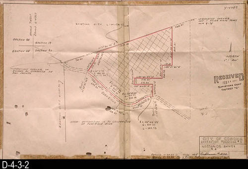 "This map is for an area showing Parkridge Road.  This map had been revised twice:  11/22/1962 and 11/29/1962. It was received on Februry 11, 1963, by the Surveyors Dept., District ""C"". MEASUREMENTS:  11"" X 17"" - CONDITION:  Center fold is taped.  Several small holes in the map. COPIES:  1 - MAP ORIENTATION:  Top is NORTH."