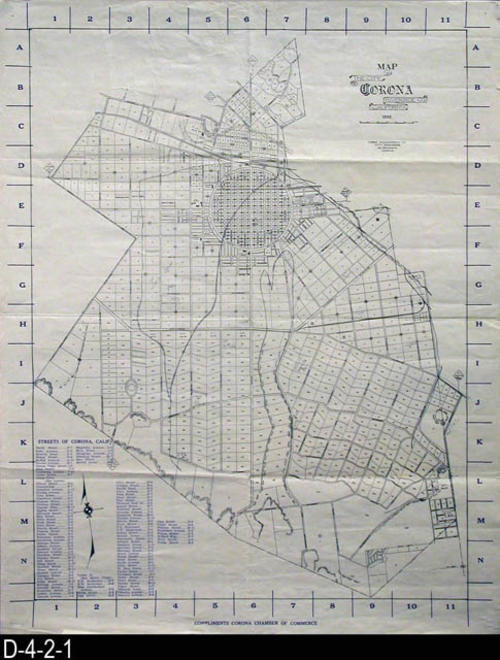 "This is a 1928 map of the City of Corona with Reference Blocks that accompany the Street Index in the lower left hand corner.  The map was distributed with, ""With Compliments of the Corona Chamber of Commerce.  MEASUREMENTS:  24"" X 19"" - CONDITION:  Very Good - COPIES:  1 - MAP ORIENTATION:  Top is NORTH."