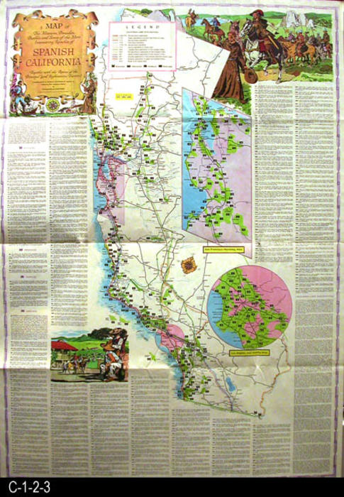 Map Of California Missions Locations.Map 1956 A Map Of The Missions Presidios Pueblos And Some Of