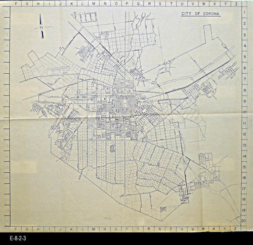 "This map is a City of Corona map showing street names and lot numbers.  With these maps is a three page, 8 1/2"" x 11"" index of streets.  - MEASUREMENTS: 42"" x 44 1/2"" - CONDITION:  Good. - COPIES:  3 - MAP ORIENTATION:  Top is NORTH"