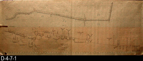 "This is a hand drawn Plan and Profile of the strom drain ditch along the easterly side of Filmore Street. - MEASUREMENTS:  22 3/8"" X 59 1/2"" - CONDITION:  The edges and corners are damaged in places.  Four inch tear on the left end of the map has been taped. - COPIES:  1 - MAP ORIENTATION:  Right end of the map is NORTH."