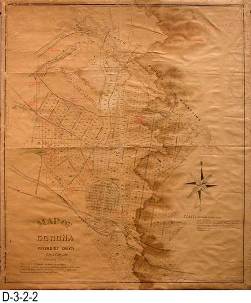 "This is a map of the City of Corona circa 1900's, and is identical to RESOURCE ID D-3-2-1 but shows the Charter and Davis July 1919 Well Survey in red that was done by A. L. Sonderegger.  MEASUREMENTS:  29.25"" x 25.5"" - CONDITION:  This map is fragile and is in deteriorating condition.  Water stains are also present on the map - COPIES:  1.  MAP ORIENTATION:  Bottom is NORTH."