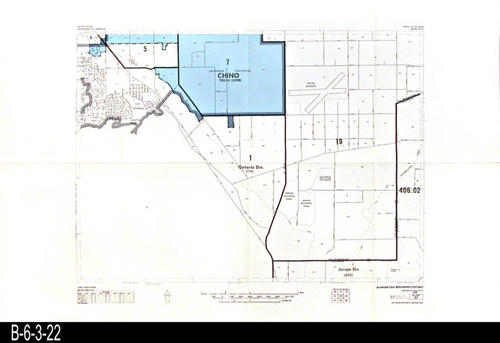 "This map covers Block No. 22 - Partial for: Chino, Ontario Div., Jurupa Div. and also shows the California Institution for Women and the Chino Airport.. -  MEASUREMENTS:  22"" x 34"" - CONDITION:  Very Good - COPIES:  1."