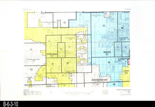"This map covers Block No.10 - Partial for:  San Bernardino Div. Fontana, Rialto, Bloomington Colton.  -  MEASUREMENTS:  22"" x 34"" - CONDITION:  Very Good - COPIES:  1."