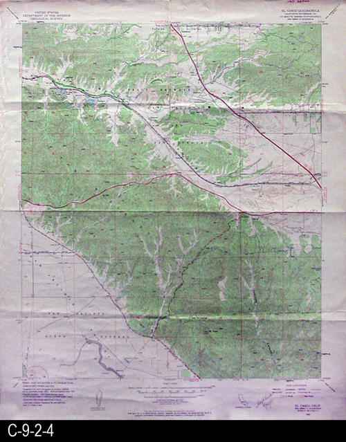 "This map is published by the U. S. Geographical Survey.  It is used by the Metropolitan Water District of Southern California.  MEASUREMENTS:  22"" X 26 1/2"" - CONDITION:  Very good, but does show normal wear and tear - COPIES:  1 - MAP ORIENTATION: Top is North."