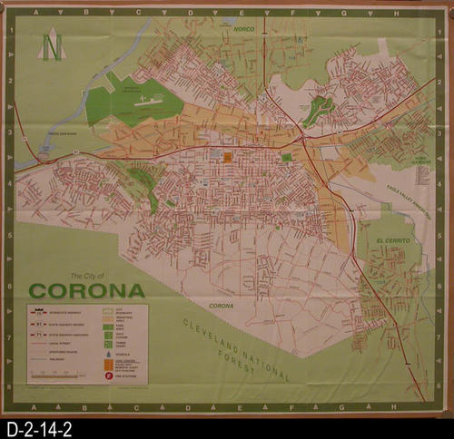 "The is a street map of Corona that has been cut from a larger document and mounted on cardboard.  The street index has been separated from the map and has SOURCE No. D-2-14-3.  MEASUREMENTS:  19 1/2"" X 21"" - CONDITION:  Very Good - COPIES:  1 - MAP ORIENTATION:  Top is NORTH."