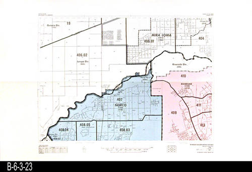 "This map covers Block No. 23 - Partial for: Norco, Mira Loma, Riverside, Riverside Div., Jurupa Div, and the Ontario Div.  -  MEASUREMENTS:  22"" x 34"" - CONDITION:  Very Good - COPIES:  1."