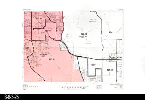 "This map covers Block No. 25 - Partial for:  Riverside, Riverside Div., Edgemont, Sunnymead (Now:  Moreno Valley) -  MEASUREMENTS:  22"" x 34"" - CONDITION:  Very Good - COPIES:  1."