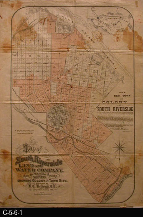 This map shows the land parcels in the New Town and Colony of South Riverside known today as Corona, California.  The parcels shaded in red indicate property sales during a sixteen week period ending on April 1, 1887.  This land map further indicates a sale of over 700 parcels of land to date.  R. B. Taylor was the project superintendent.  Copy 1:  This map is printed on oil skin.  Large brown stains can be seen in the area of the four corners of the map., MAP ORIENTATION:  BOTTOM is NORTH.