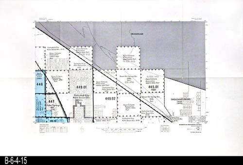 "This map covers Block No. 116 - Partial for:  Palm Springs, Palm Springs Div., Agua Caliente Reservation, Thousand Palms, Desert Hot Springs Div., Cathedral City - Palm Desert Div. - MEASUREMENTS:  22"" x 34"" - CONDITION:  Very Good - COPIES:  1."