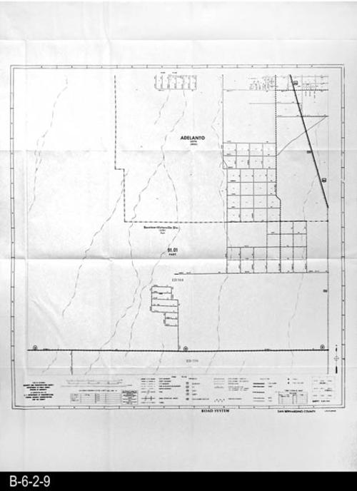 "This map covers Adelanto and part of the Barstow-Victorville Div. located in San Bernardino County.  FIPS State:  06, County Code: 071 - 1980 Census District Office: 3218 - 1980 Census Map Inventory Number:  9936 - 66.  See also B-6-2-6, Sheet 15T51. -   MEASUREMENTS:  48"" x 36"" - CONDITION:  Very Good - COPIES:  1."