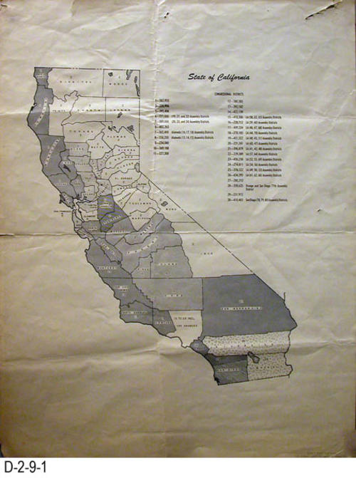 "This map shows the State of California Congressional Districts.  MEASUREMENTS:  22"" X 17"" - CONDITION:  The legibility of this map is very good.  There is damage at the top of the map where staples may have been used to post the map.  Also some tearing where the map folds.  COPIES:  1."
