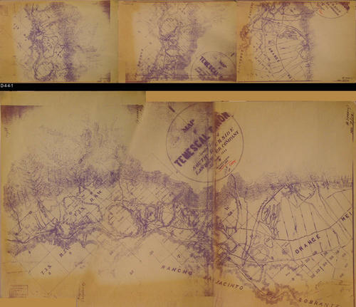 "This map of the South Riverside Land and Water Co. is a copy of a map found in Book 2, Page 19 (Book location not given but due to age of map, San Bernardino would be the most likely place where the map was first recorded.)  This map is in three pages; however, the map indicates four pages.  The first survey was made in August 1888 and the copy made in 1894.  A digital assembly is shown under the three separate map pages.  The top of the assembled map is the left end of the picture.  MEASUREMENTS:  Each separate sheet is:  18"" x 26"" - CONDITION:  Very Good - COPIES:  1 of each page - MAP ORIENTATION:  Bottom is NORTH. - DIGITAL ASSEMBLY:  A separate digital assembly of this map is available as well as pictures of each separate map page."