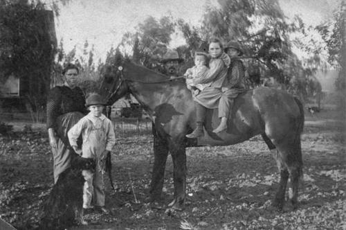 The Tucker familiy on Lincoln in old family home.  Mary, Ellis, Benjamin.  On the horse, Ben, Effie and Emmet.