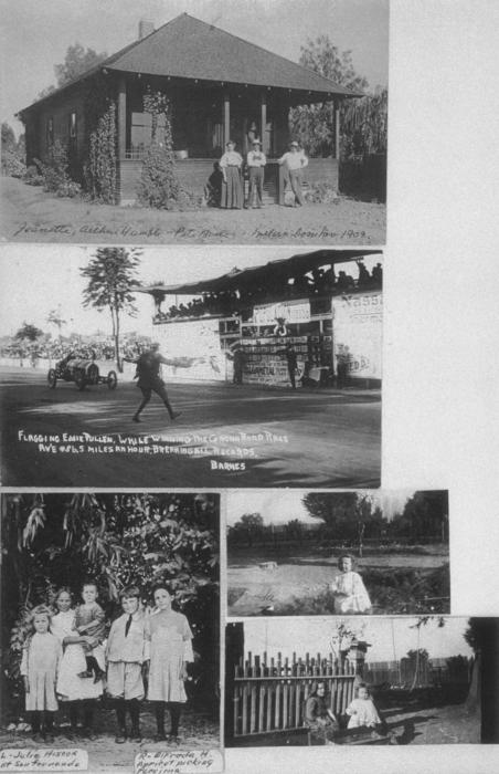 Top: Jeanette and Arthur Humble, and Pete Boele at a home on the corner of Tenth (10th) and Merrill Streets.  Middle: Corona races.  Bottom: Julie Hiscox Humble and her family.  Two unknown small pictures.