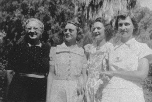 Four of the five Ware sisters.  One of the original five died in an accident when she was eight (8) years old.  Left to right: Alice Ware Crothers, Katherine Ware Lambeth, Florence Ware Doty, Marjorie Ware Davis.