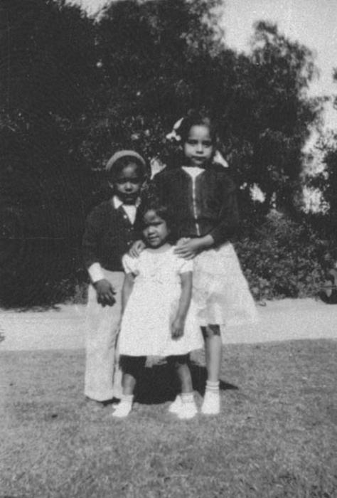 Margaret, John, and Mary Ann Zarate at the Corona City Park in the late 1930s.