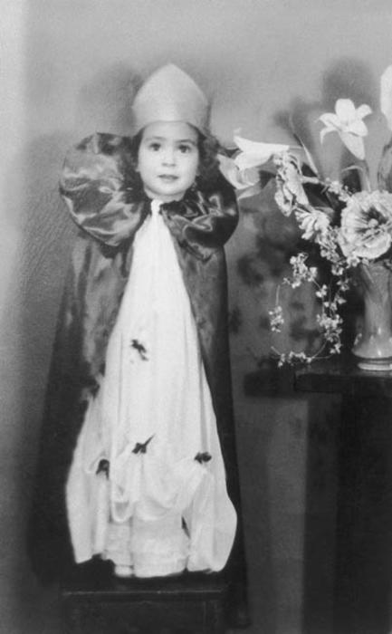 Amelia Lerma, age three, dressed in her beauty contest outfit.