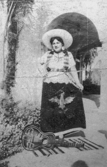 Amelia Lerma's mother, Lupe Zarate, dressed for Cinco de Mayo.  Photo view at the Old Corona Depot.