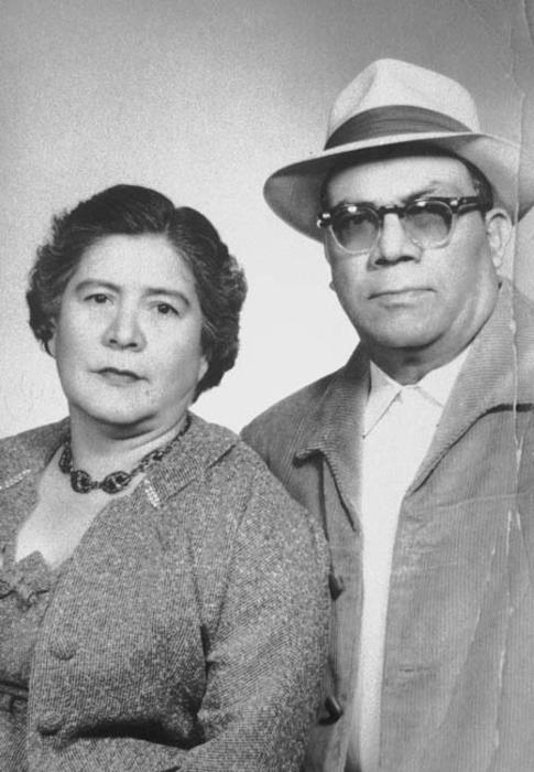 Portrait of an older couple, Victoriano and Basillisa Zarate.  They were Amelia Lerma's grandparents.