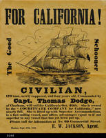 Poster - 1849 (Reproduction) - Advertising the sailing of the Civilian to California...