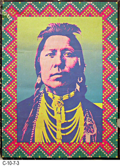 "This poster is simply titled:  ""The American Indian.""  MEASUREMENTS:  28"" X 20.75"" - CONDITION:  On the right side a piece is turned under.  There are numerous creases showing as gray marks in the border area. - COPIES:  1."