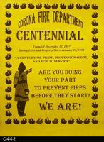 Poster - 1998 - Corona Fire Department Centennial